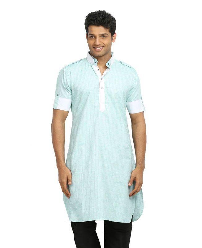 Lace Cotton Turquoise Mens Kurta Pajama