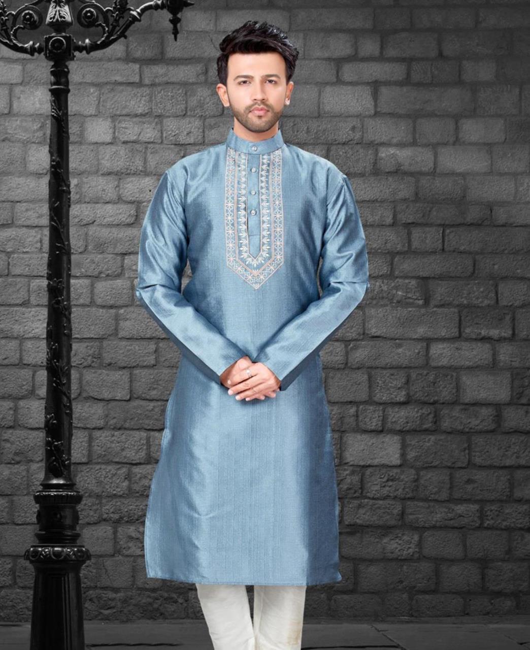 Embroiderd work Silk Gray Kurta Pajama