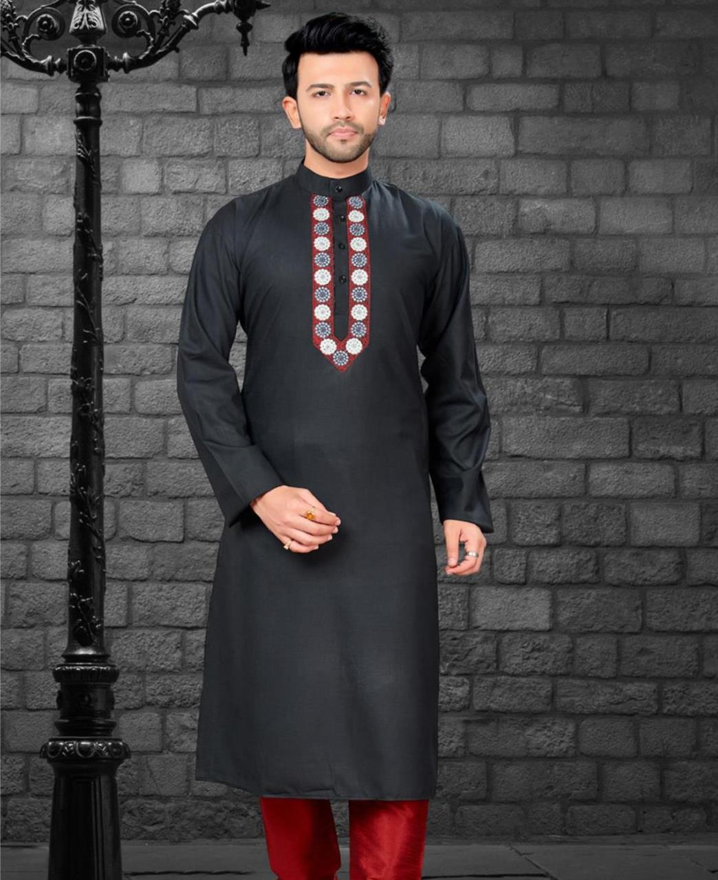 Embroiderd work Cotton Satin Black Kurta Pajama
