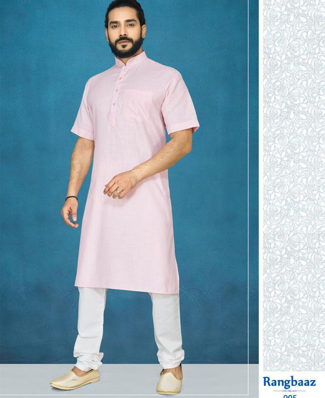 Plain Cotton Pink Kurta Pajama