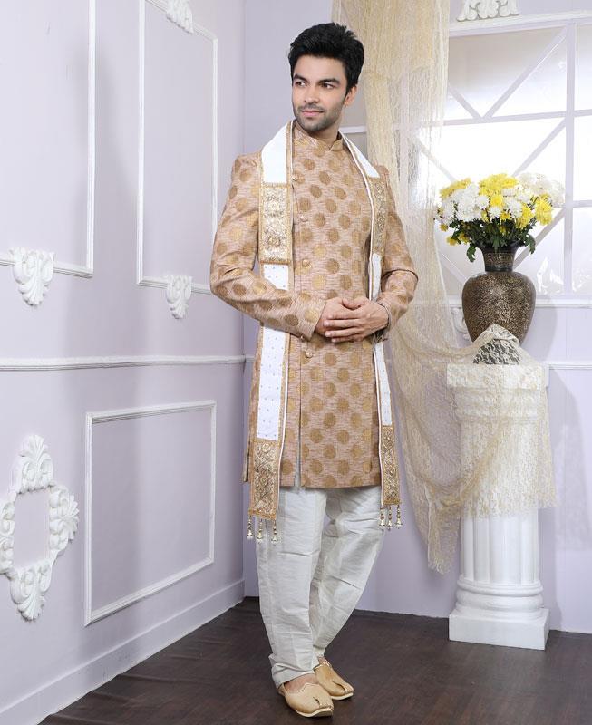 Jacquard Chanderi Silk Ivory Kurta Pajama