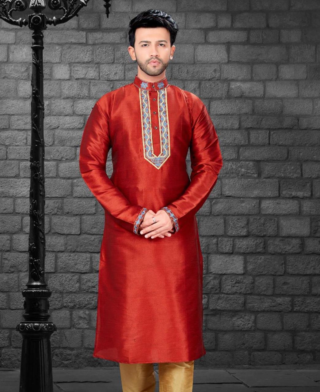 Embroiderd work Silk Red Kurta Pajama