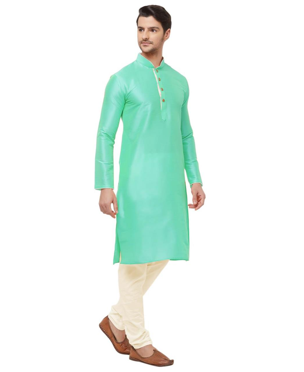 Plain Silk SEAGREEN Kurta Pajama
