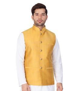 Plain Cotton Satin Yellow Coats
