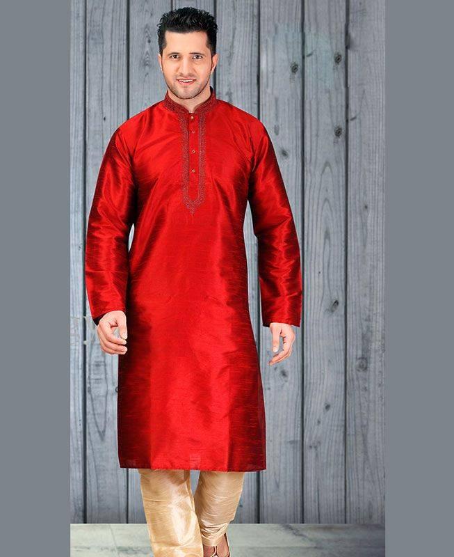 Butta Work Dupion Silk Red Mens Kurta Pajama