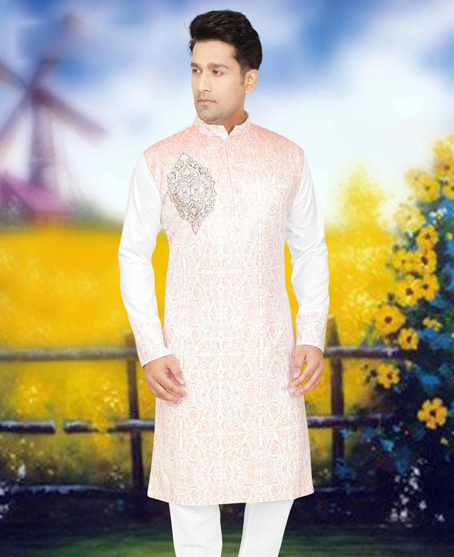 Printed Cotton Orange Kurta Pajama