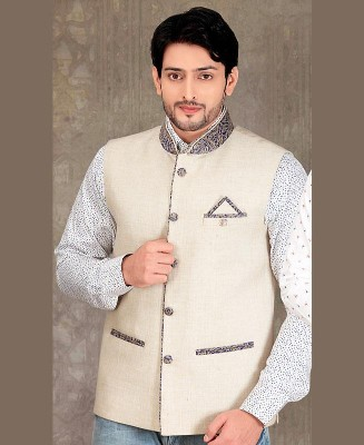 Thread Work Jute Silk Gray Mens Waist Coat
