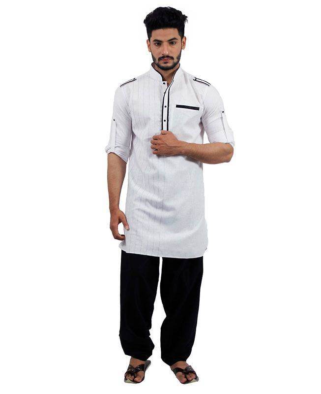 Plain Cotton White Mens Kurta Pajama
