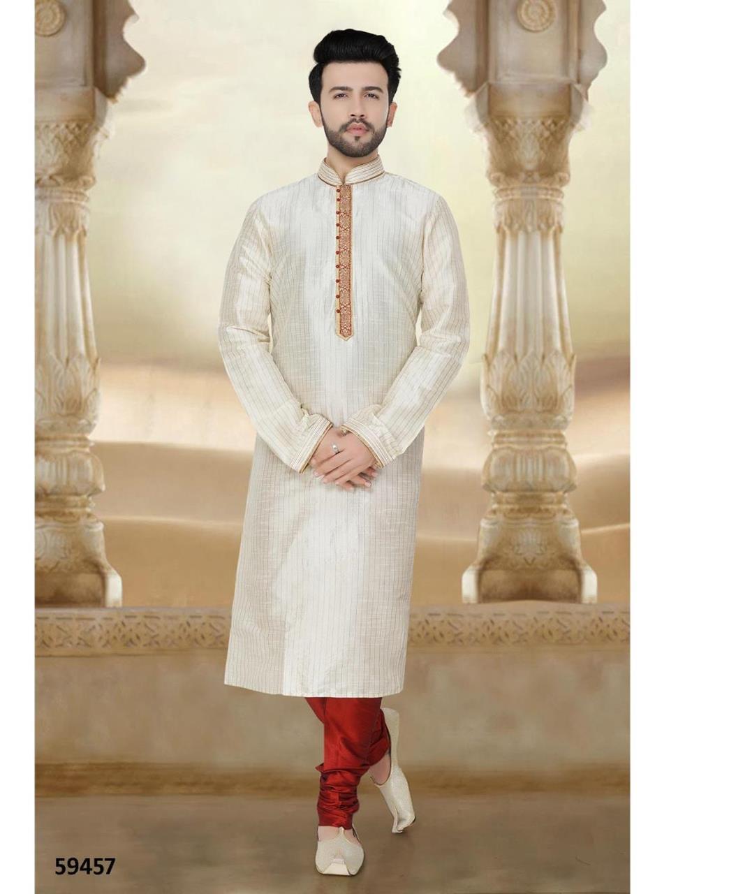 Cord Work Silk Offwhite Kurta Pajama