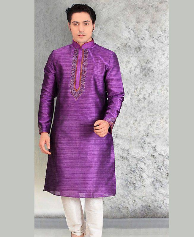 Butta Work Silk Purple Mens Kurta Pajama