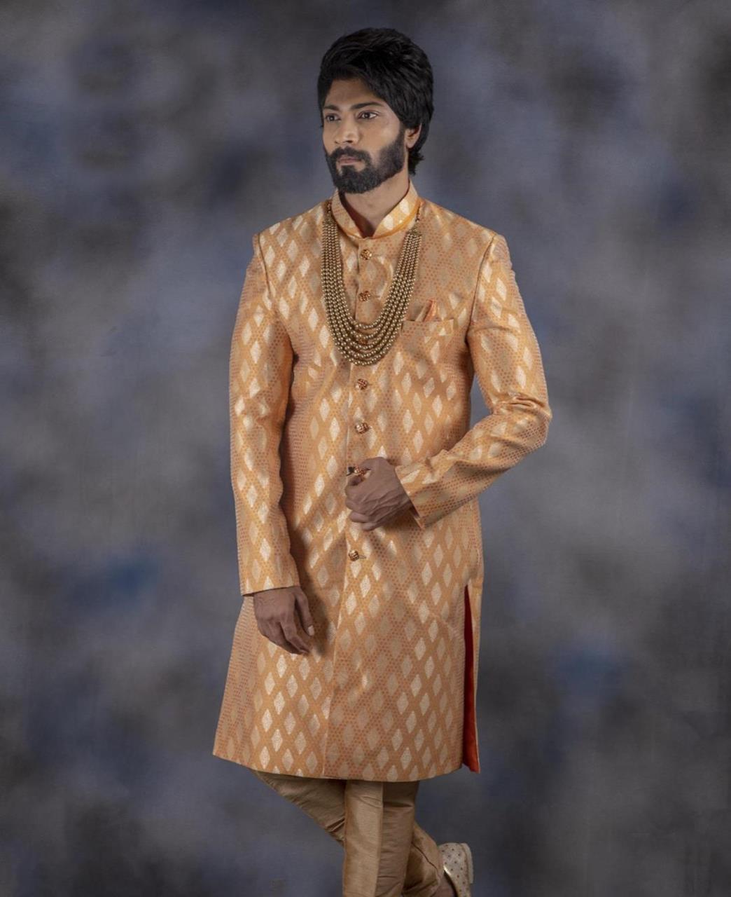 Printed Jacquard Orange Kurta Pajama