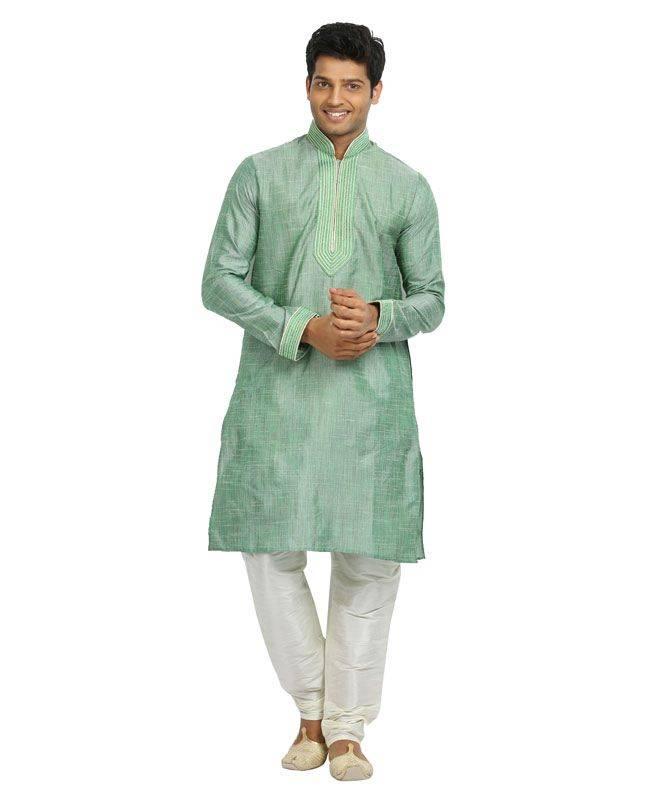 Crystals Linen Green Mens Kurta Pajama