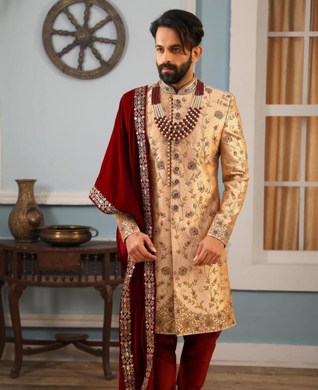 Embroidered Art Silk PeachPuff Kurta Pajama