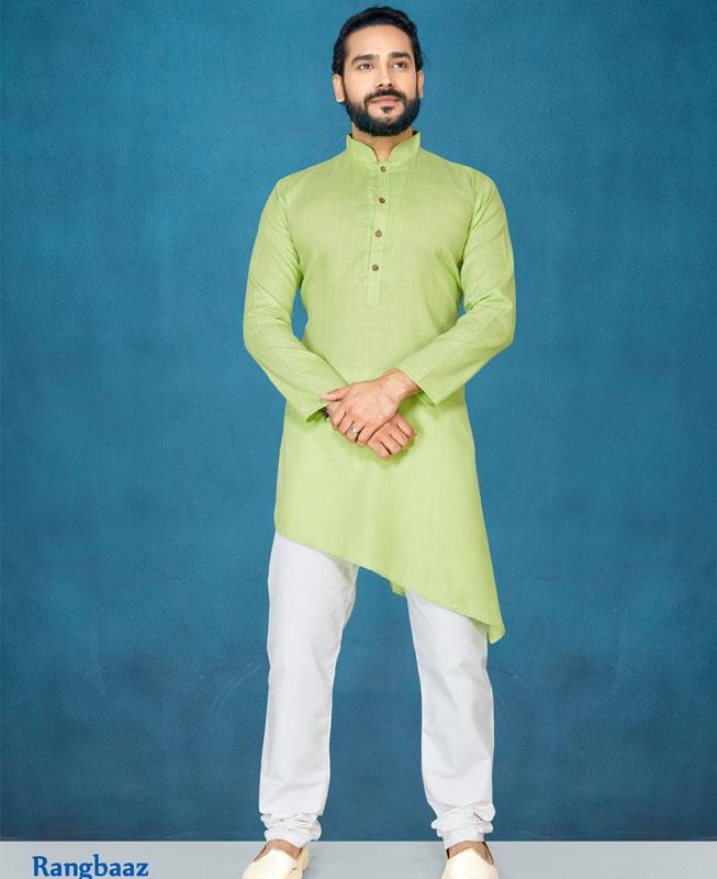 Plain Cotton LimeGreen Kurta Pajama