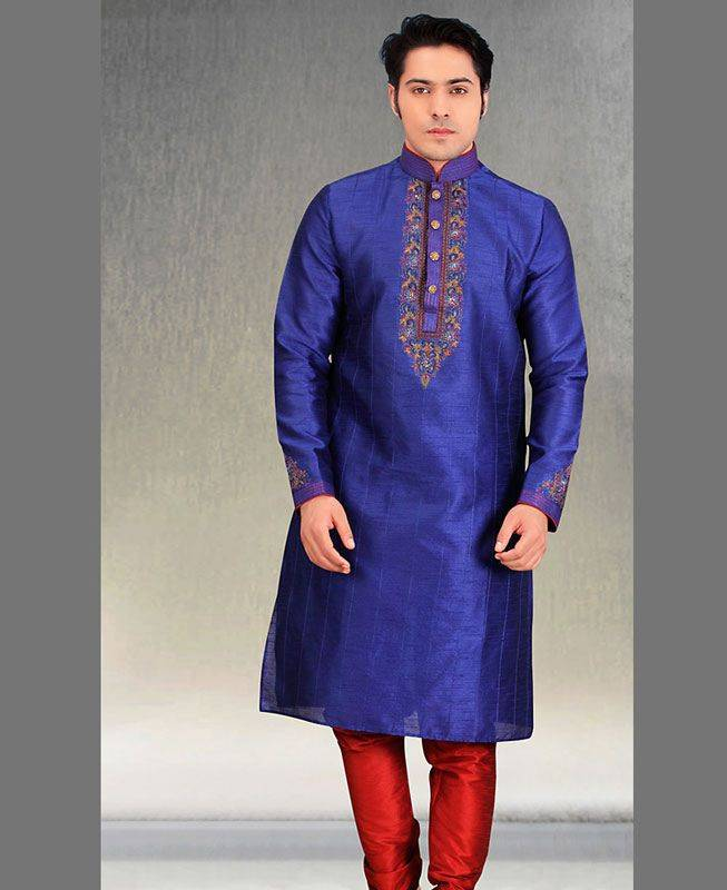 Butta Work Silk Blue Mens Kurta Pajama