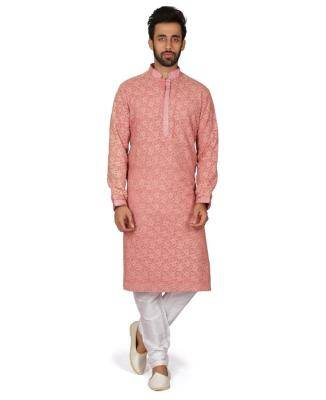 Embroidered Cotton Pink Kurta Pajama