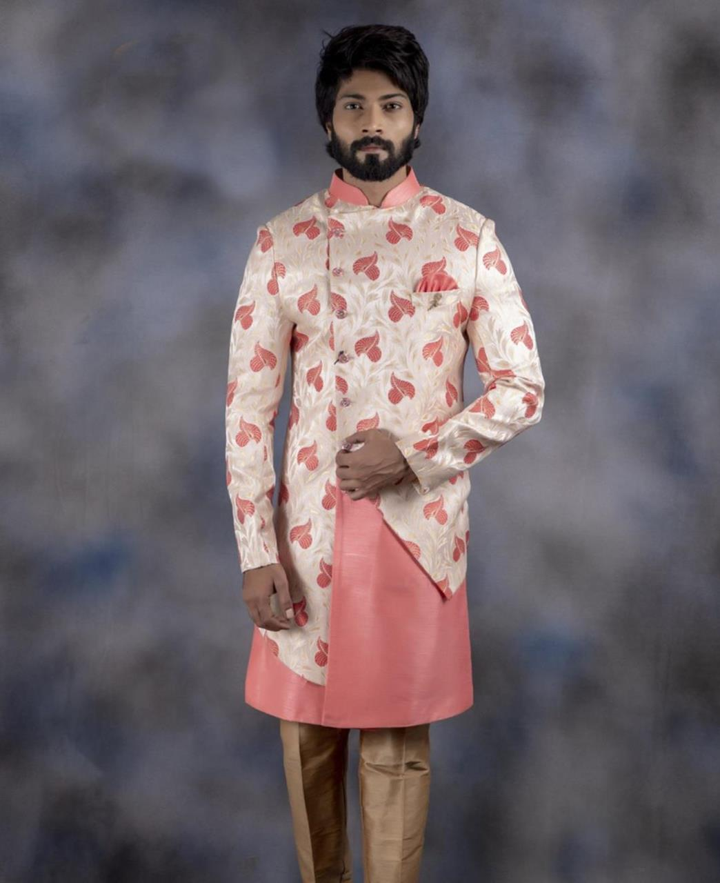 Printed Jacquard Pink Kurta Pajama