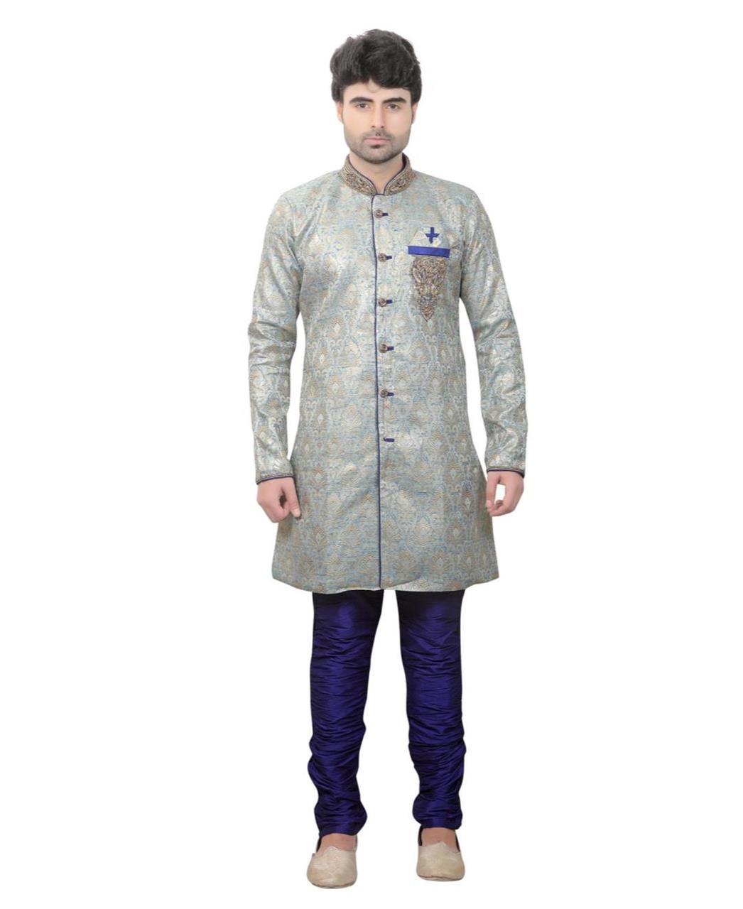 HandWorked Jacquard Gray Kurta Pajama
