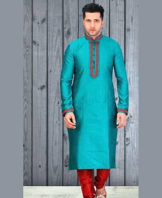 Lace Dupion Silk Blue Mens Kurta Pajama