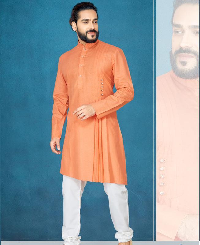 Plain Silk Orange Kurta Pajama