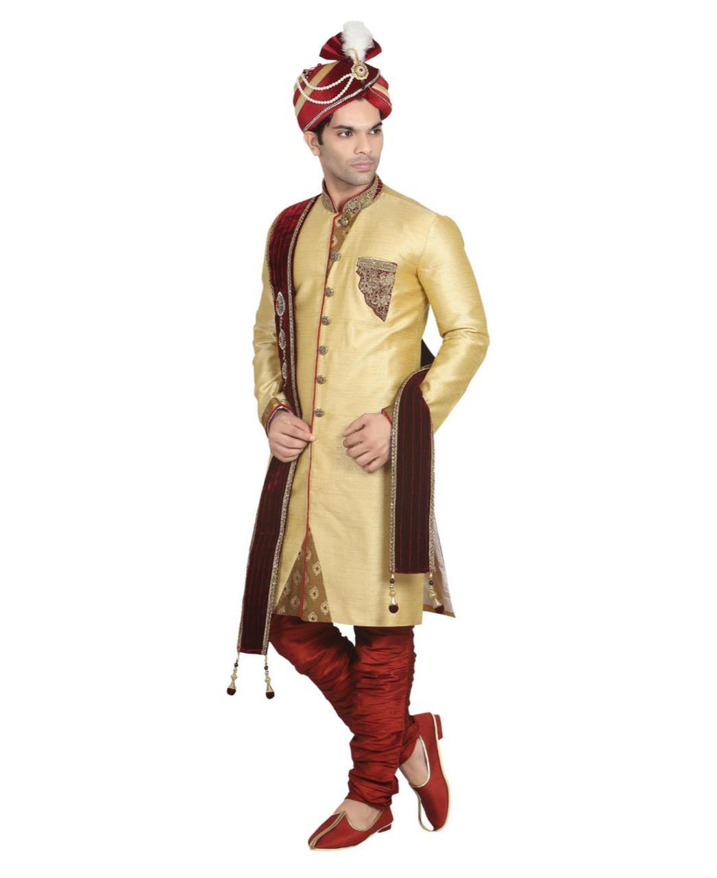 Embroidered Jacquard Gold Sherwani
