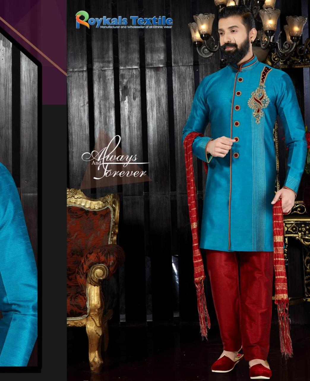 Embroidered Silk SKYUBLUE Sherwani