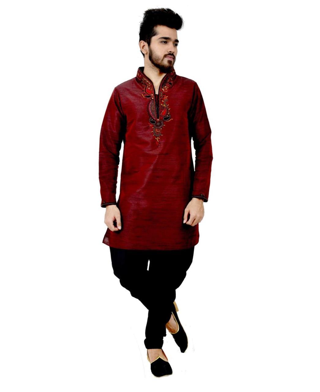 Embroidered Art Silk Maroon Sherwani