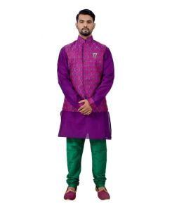 Printed Silk Purple Waist Coats