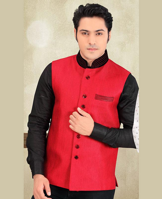Thread Work Jute Silk Peachpuff Mens Waist Coat