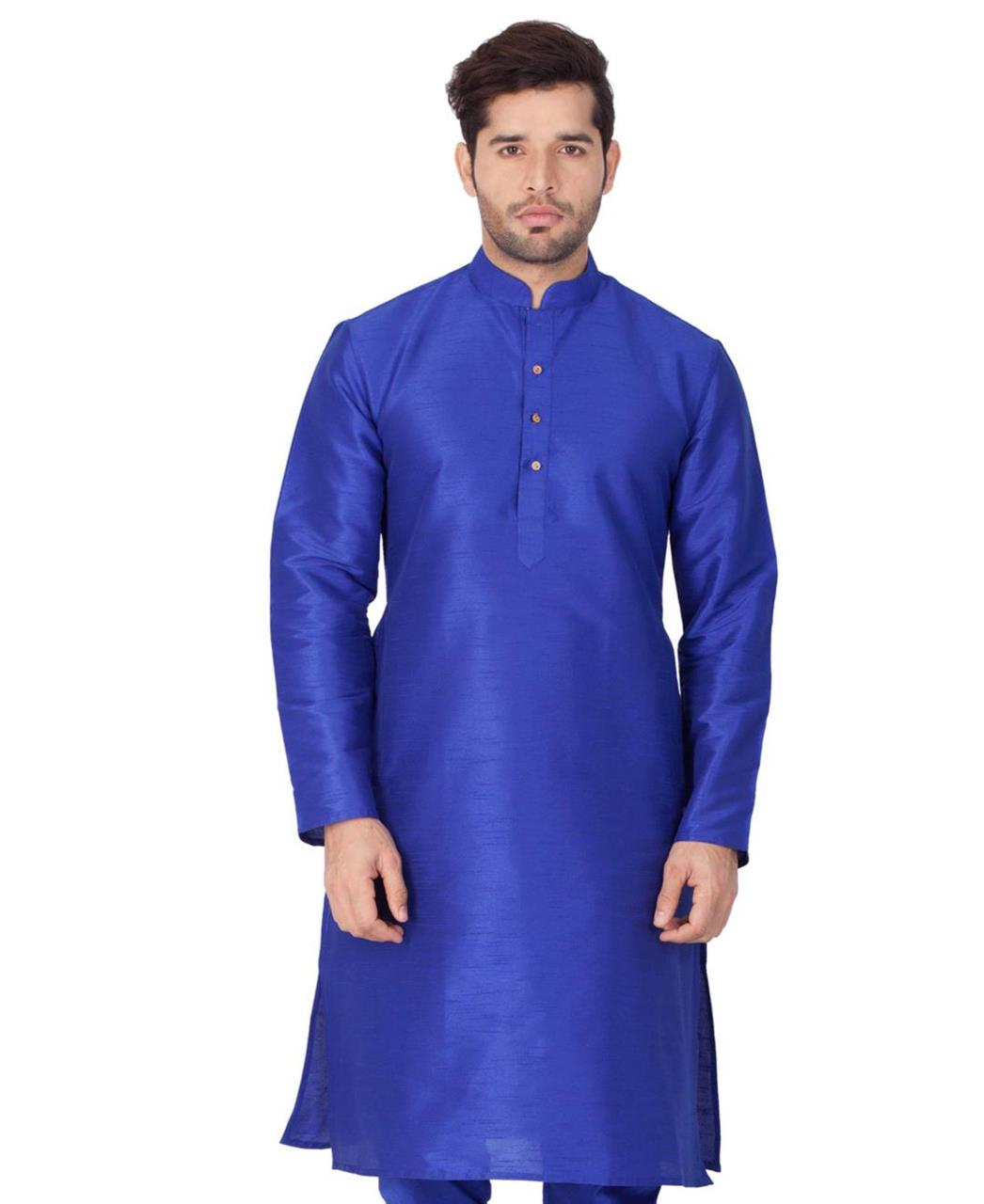 Plain Cotton Blue Kurta Pajama