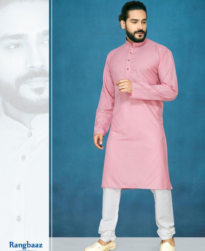 Plain Cotton LIGHTPINK Kurta Pajama
