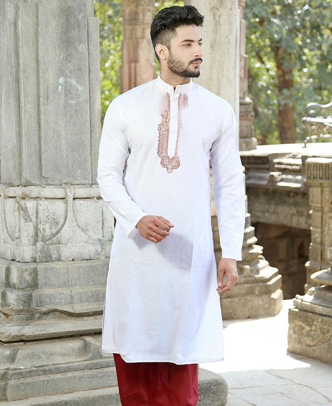 Embroidered Cotton White Kurta Pajama
