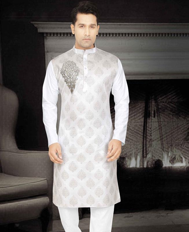 Printed Cotton Gray Kurta Pajama