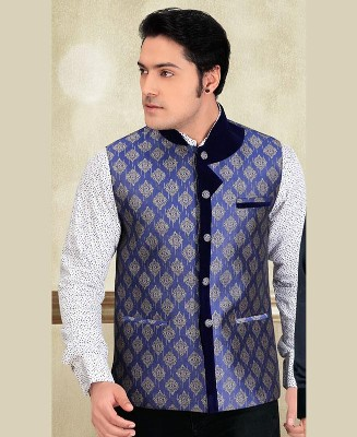 Thread Work Brocade Cream Mens Waist Coat