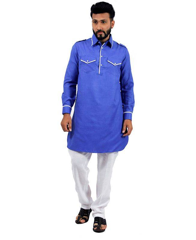 Plain Cotton Blue Mens Kurta Pajama