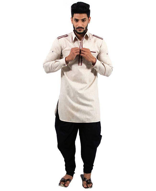 Plain Cotton Gray Mens Kurta Pajama