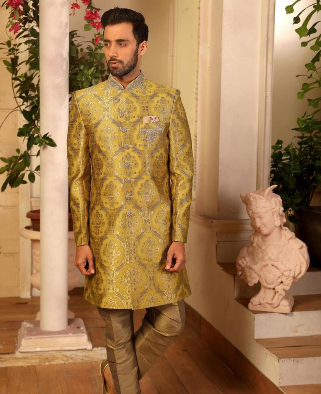 Embroidered Brocade Yellow Kurta Pajama
