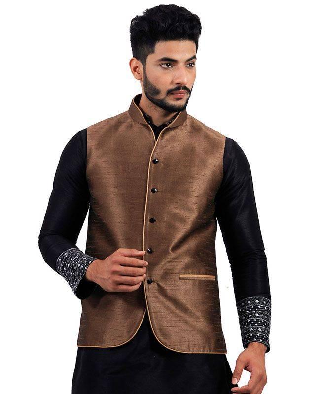 Plain Raw Silk Brown Mens Waist Coats