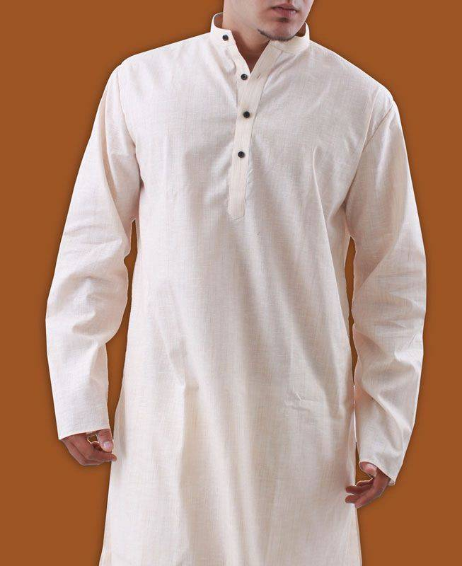 Plain Cotton Pink Mens Kurta Pajama