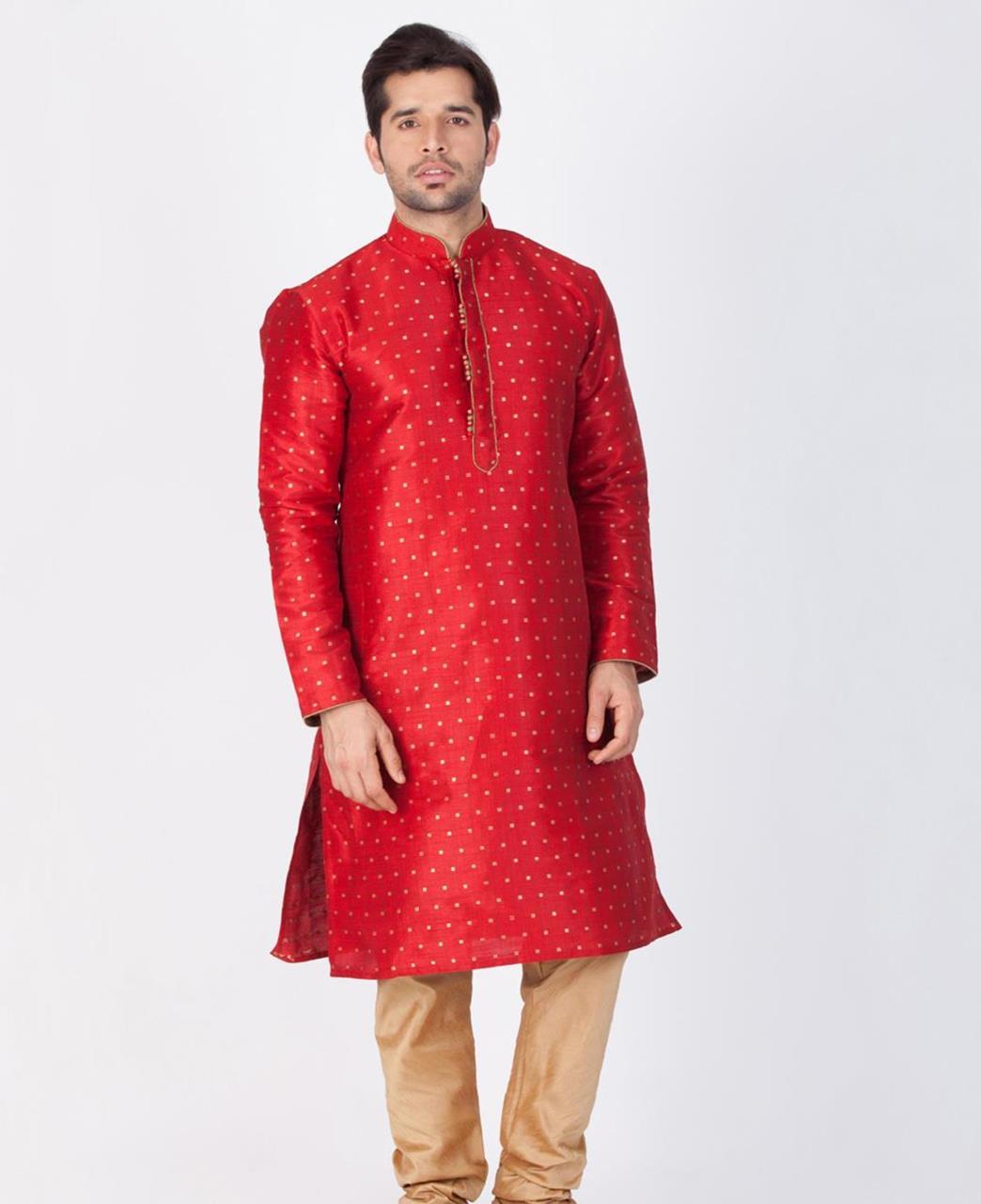 Printed Cotton Maroon Kurta Pajama