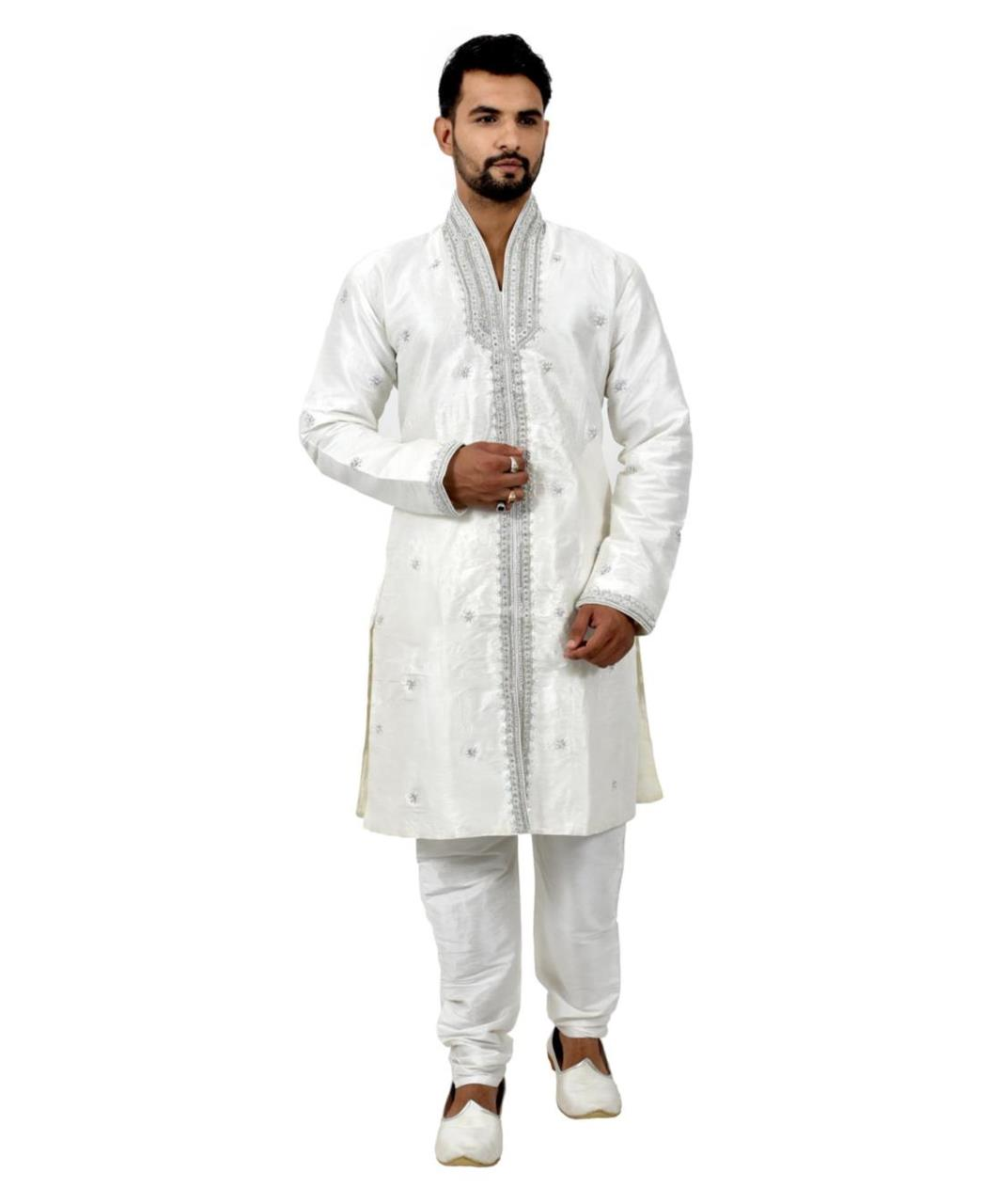 Embroidered Silk White Coats