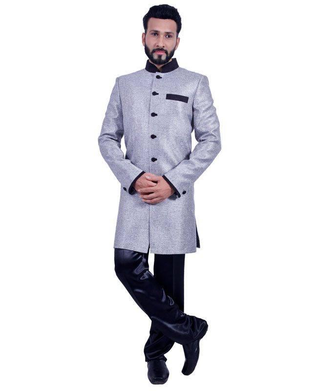 Plain Jute Silk Gray Mens Sherwani