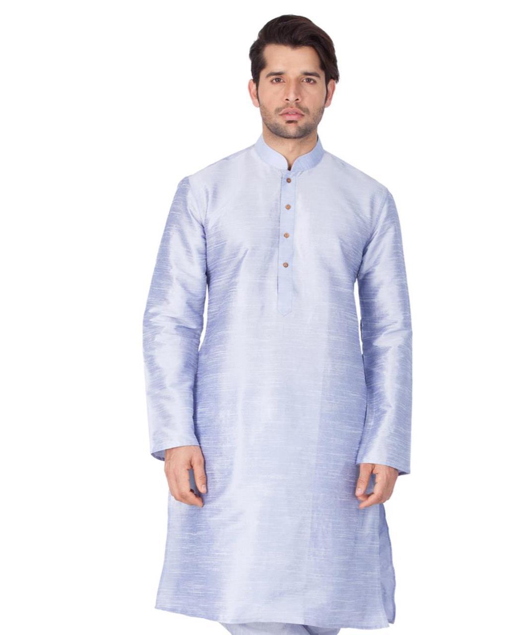 Plain Cotton SKYBLUE Kurta Pajama