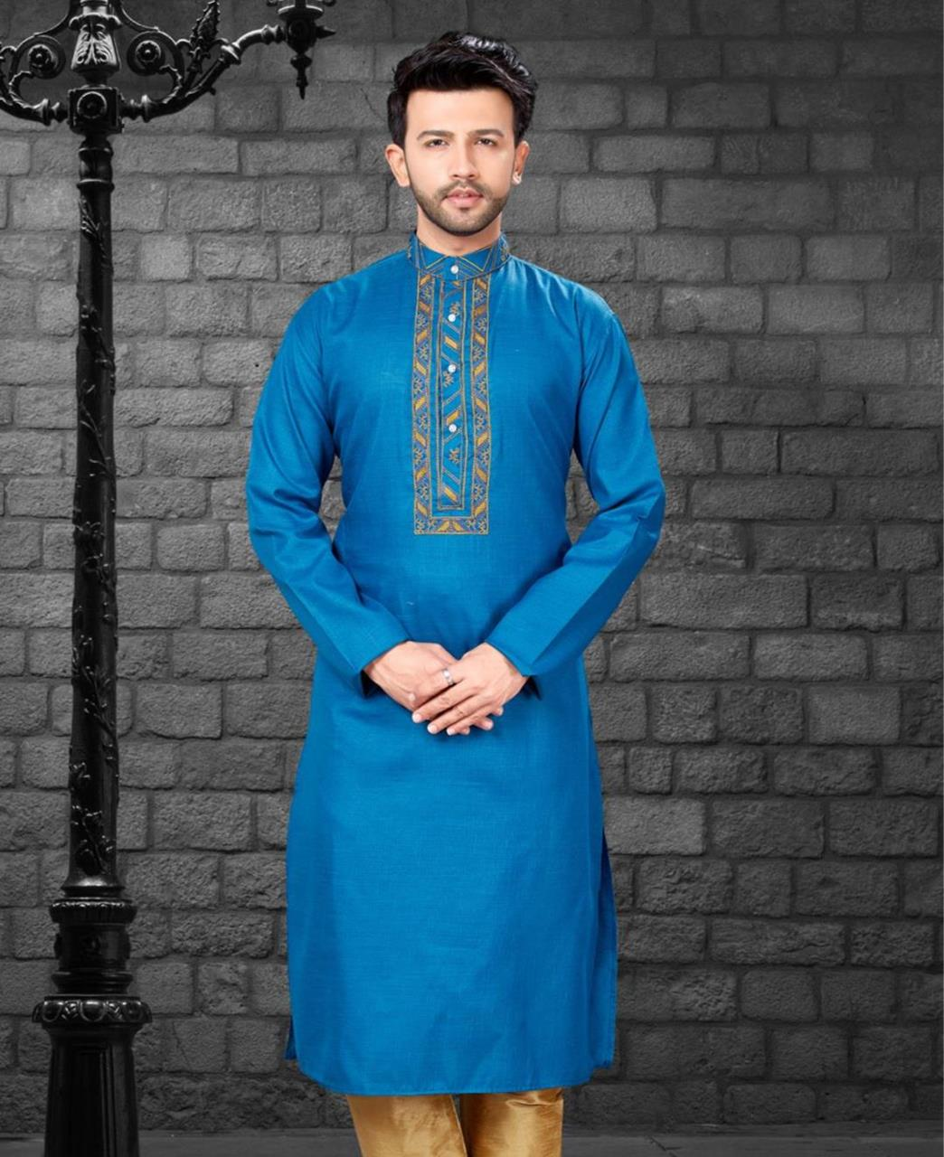 Embroiderd work Silk Blue Kurta Pajama