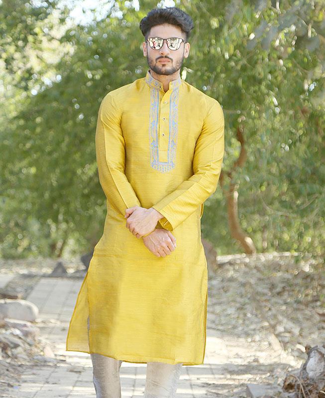 Embroidered Silk Yellow Kurta Pajama
