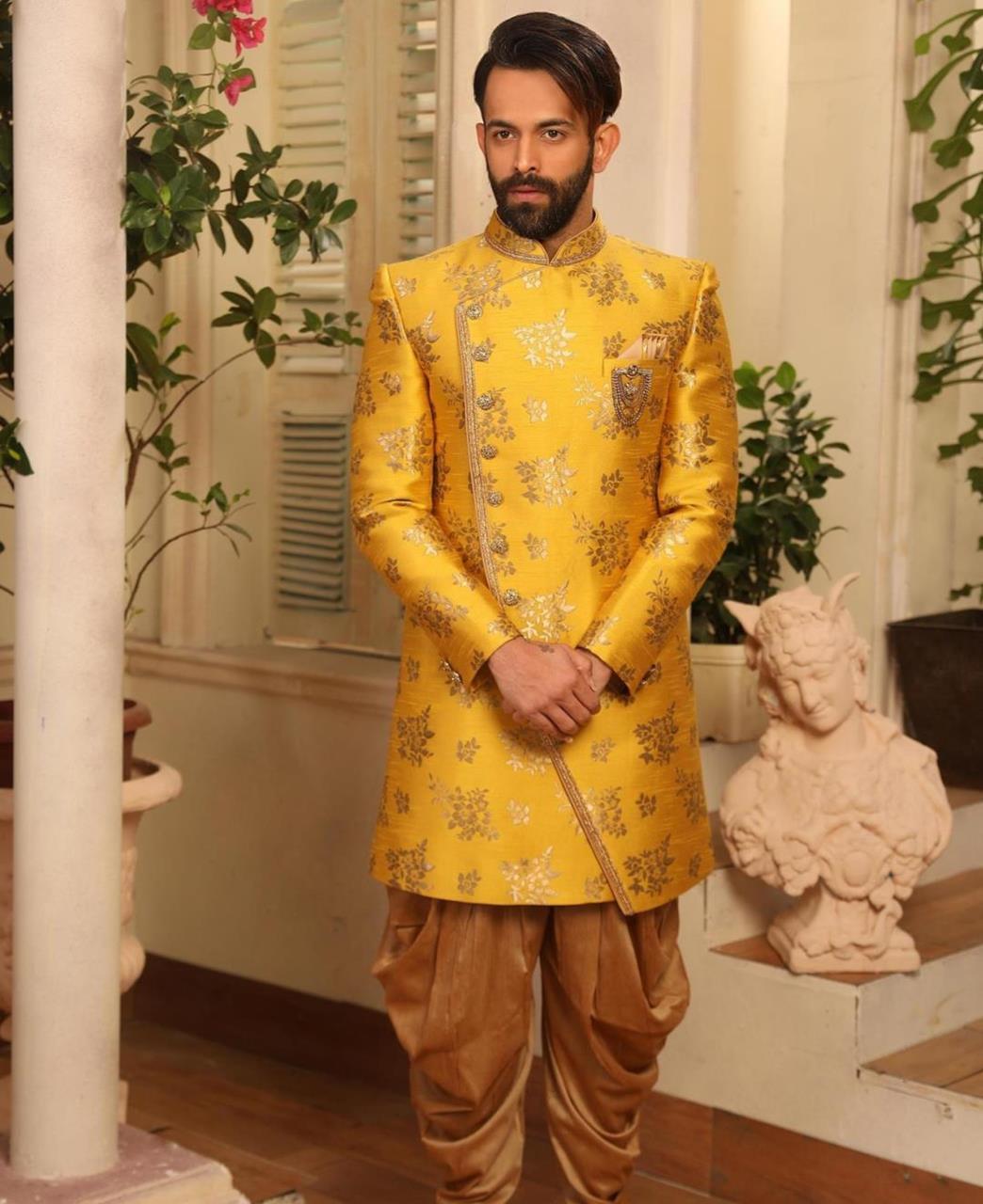 Printed Brocade Yellow Kurta Pajama