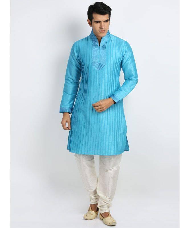 Lace Silk Turquoise Mens Kurta Pajama