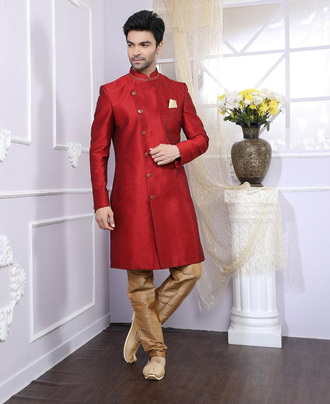 Plain Silk Maroon Kurta Pajama