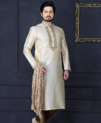 Embroidered Art Silk Gold Men Kurta