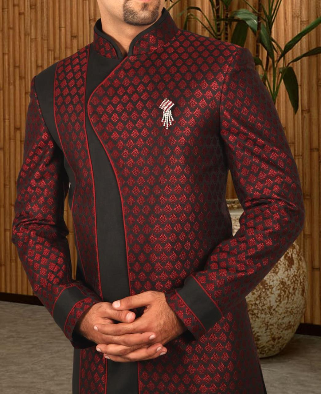 Printed Silk Maroon Coats
